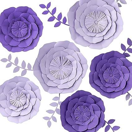Key Spring 3d Paper Flower Decorations Giant Paper Flowers Large Handcrafted Paper Flowers Purple Lavender Set Of 6 For Wedding Backdrop Bridal