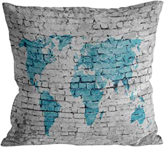 Square Throw Pillow Cover with Zipper for Girl/Boy/Kid/Couple/Couch/Chair/Bed/Dining/Living Room, White Brick Wall Blue World Map Decorative Soft Short Plush Cushion Cover Pillow Case 20x20in