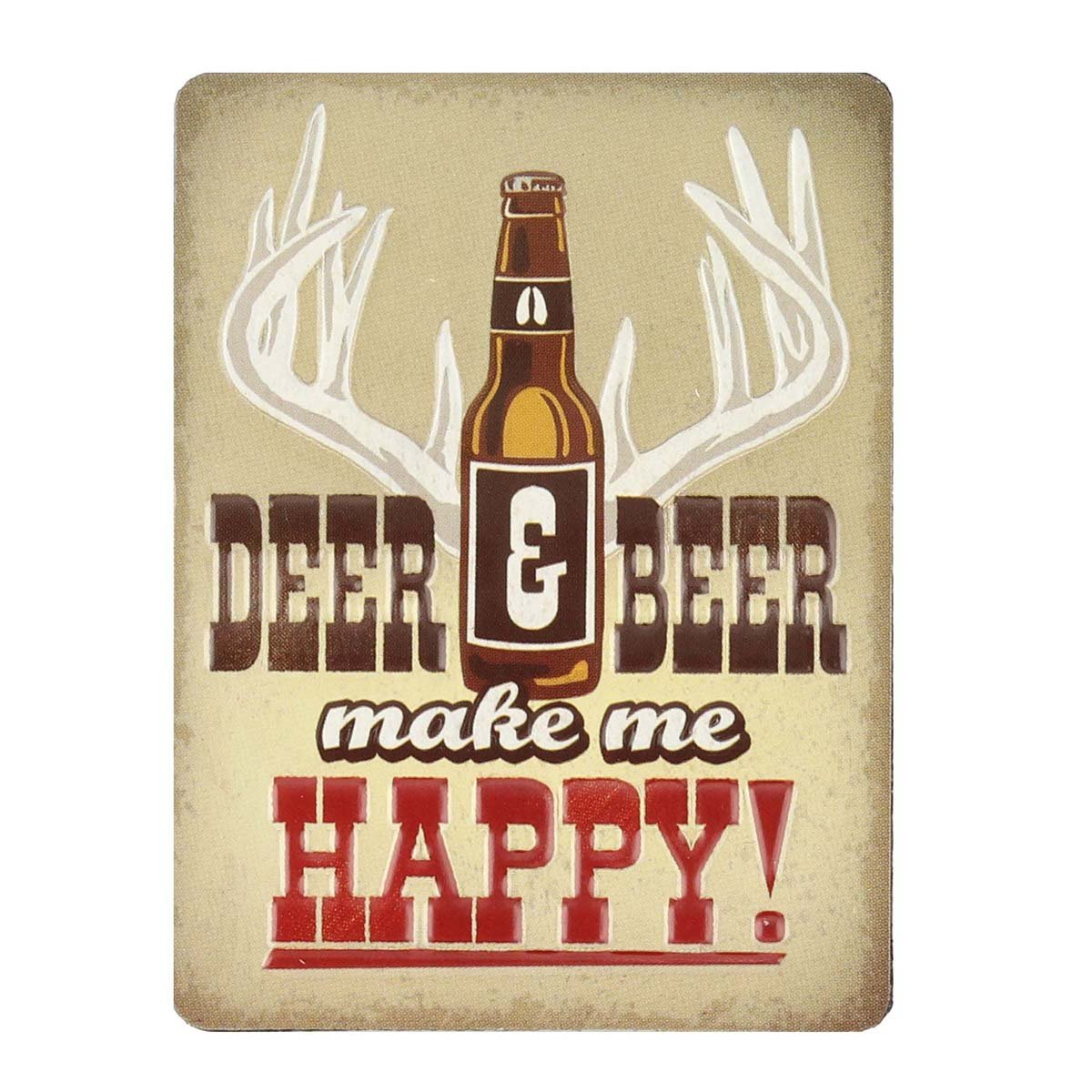 Open Road Brands Vintage Deer and Beer Make Me Happy Embossed Metal Magnet Art - an Officially Licensed Product Great Addition to Add What You Love to Your Home/Garage Decor
