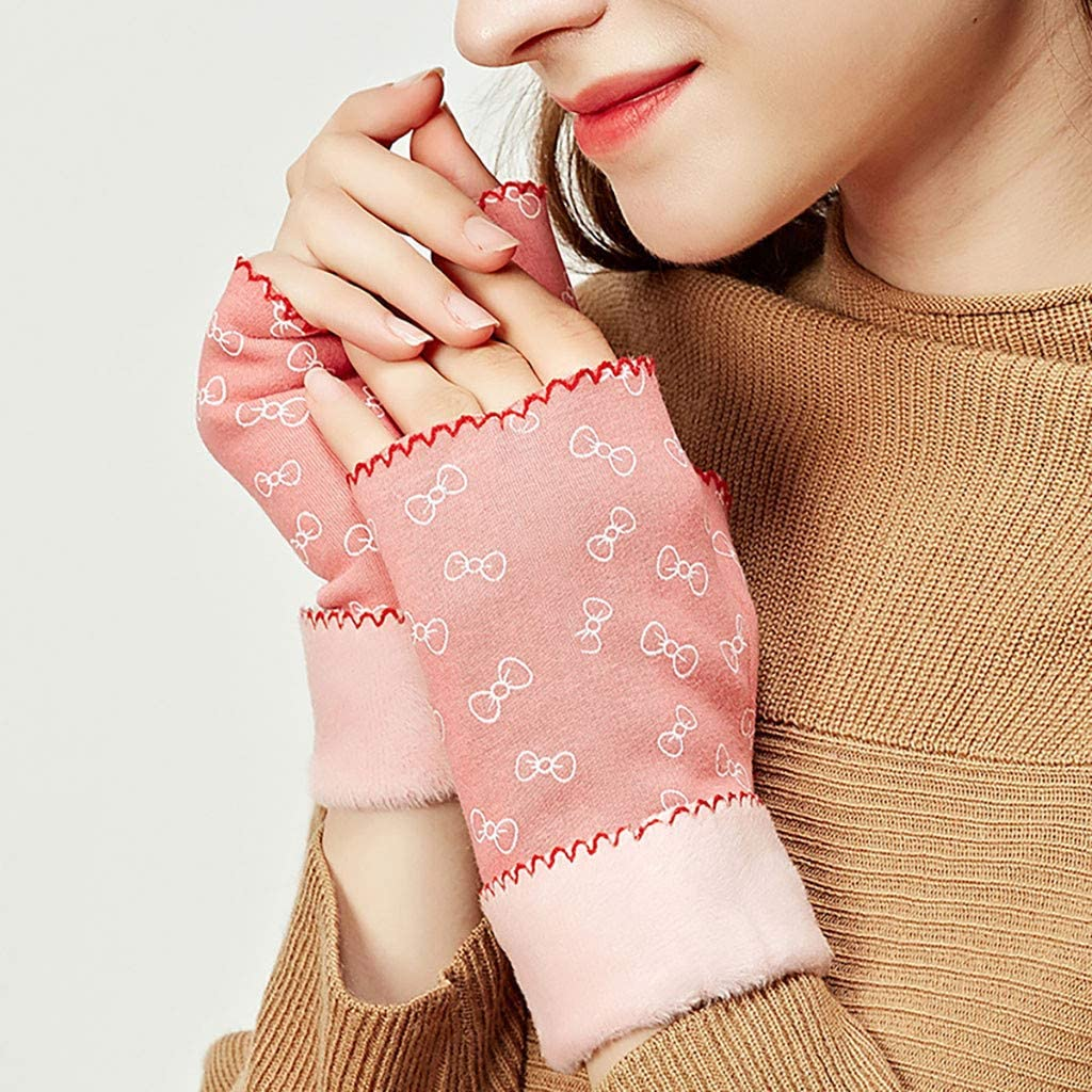 Loneflash Winter Gloves Women Girl Warm Winter Windproof Wrist Outdoor Cycling Driving Cold Half Finger Gloves