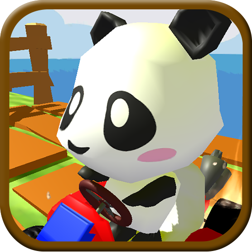 Panda Brakes: Cartoon of puppy racing and running downhill for kids game