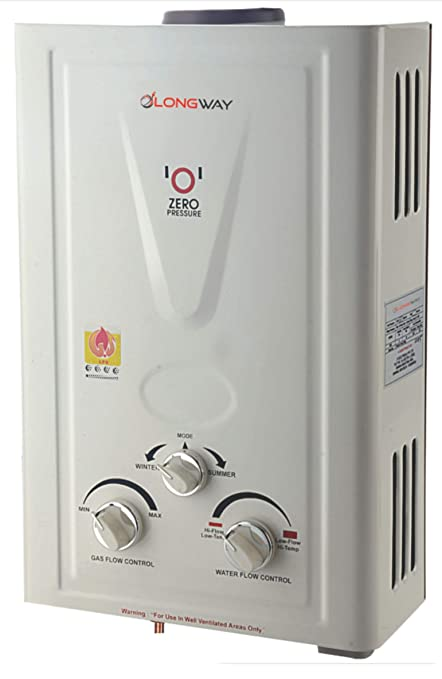 LONGWAY Xolo DLX 7 LTR LPG Instant Gas Water Heater Geyser 5 Way Protection (100% Copper Tank) T.O.P Function, 20 minut Timer (Color-Off White)