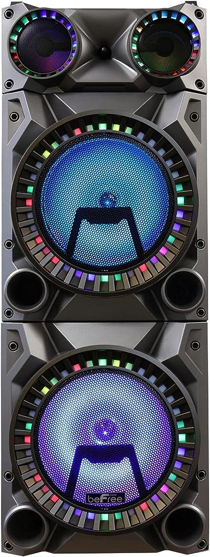 Befree Sound Recargable Bluetooth 12 Pulgadas Doble Subwoofer Portátil Altavoz De Fiesta Con Doble Capa Reactiva Luces De Fiesta Usb Sd Y Aux Entradas Con Radio Fm Musical Instruments