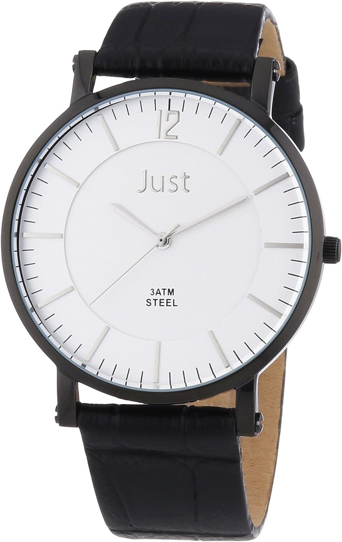 Just Watches 48-S9295A-BK-SL - Reloj analógico de cuarzo para hombre, correa de cuero color negro