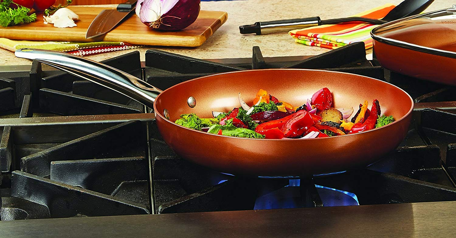 "Copper Chef 12"" Round Pan with Lid"