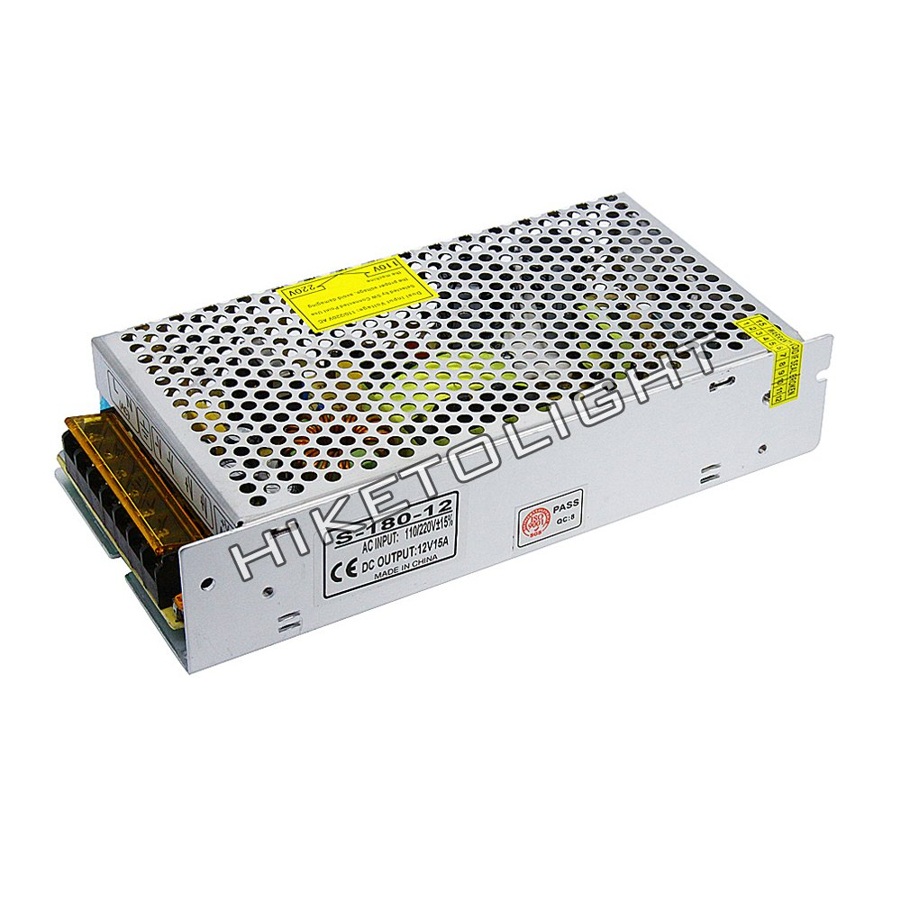 MOVINGTECH LED Power Supply DC Output 12V 15A 180W Aluminum Box Adaptor Transformer AC Input 110/220V for 12V LED Strip Module CCTV