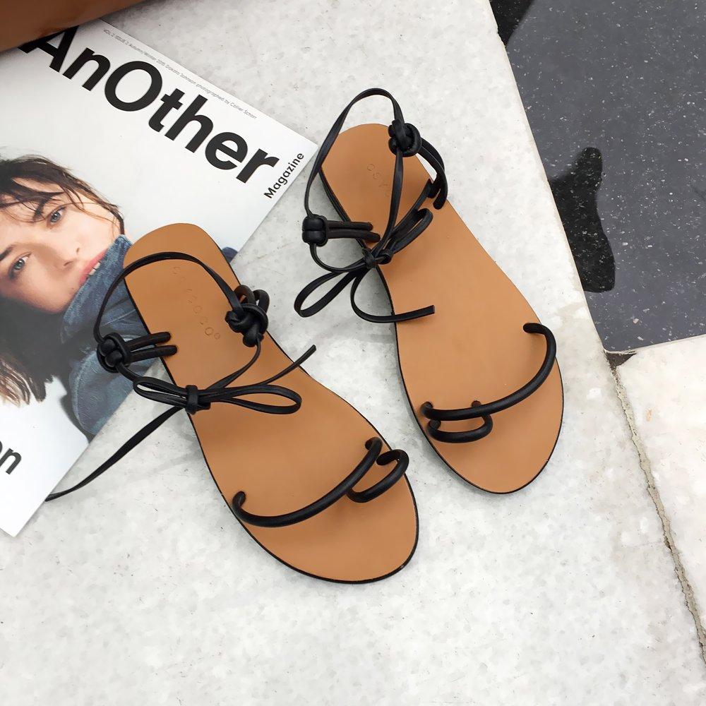 Angrousobiu Flache Sandalen unten Sommer Damen Bow Tie Strap Flache Sandalen Schuhe Sommer Sandalen Frauen