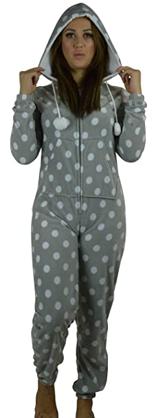 Pijama mono polar para mujer, longitud completa, con capucha blanco Grey Spot S