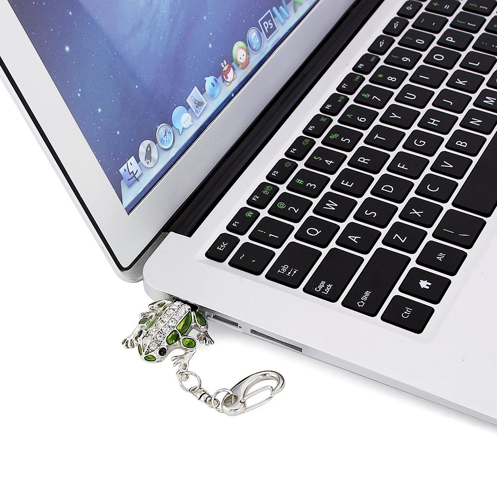 CHUYI Crystal Cute and Novelty Frog Shape Animal Pen Drive 32GB USB 2.0 Flash Drive U Disk Thumb Drive Memory Stick Data Storage Jump Drive with Key Chain
