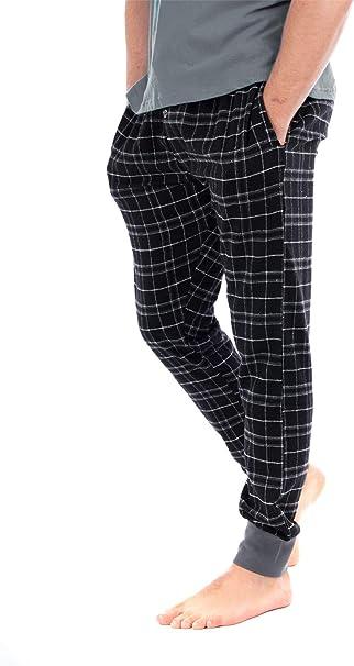 Mens Lounge Pants Pyjama Pj Bottom Tartan Check Plain Nightwear Soft Warm Fleece S-2XL Cold Winter Warm Jogging//Jogger Style Bottoms with Pockets Black//Grey