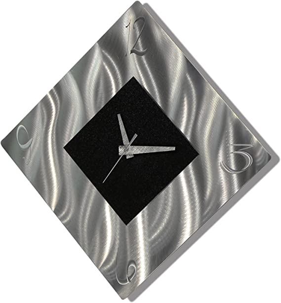 Black Metal Decorative Wall Clock Abstract Modern Clock For Living Room Or Kitchen Jon Allen Metal Art Prediction Clock Kitchen Dining