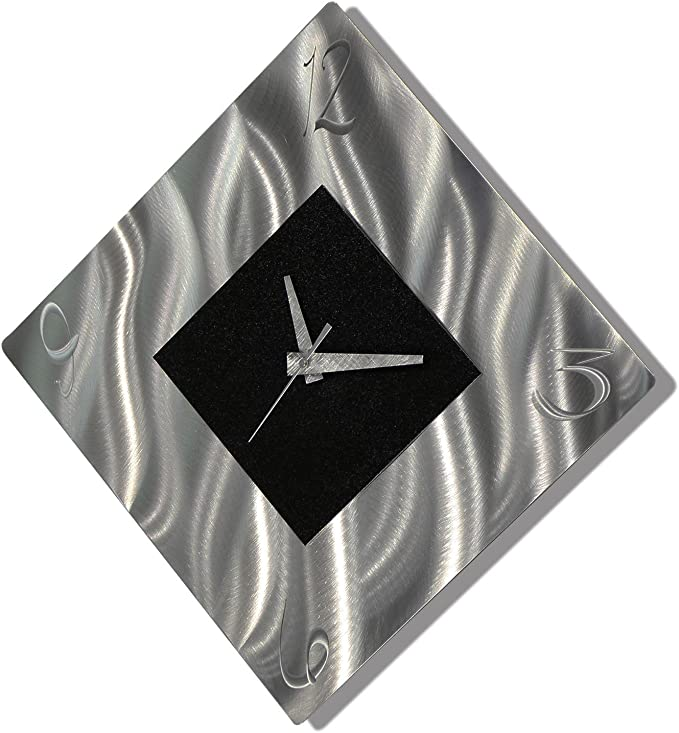 Black Metal Decorative Wall Clock Abstract Modern Clock For Living Room Or Kitchen Jon Allen Metal Art Prediction Clock Kitchen Dining