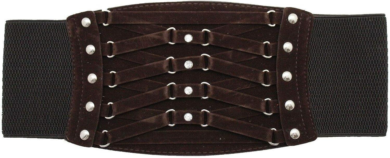 TFJ Women Fashion Wide Elastic Corset Belt High Waist Faux Suede Leather S M Dark Brown