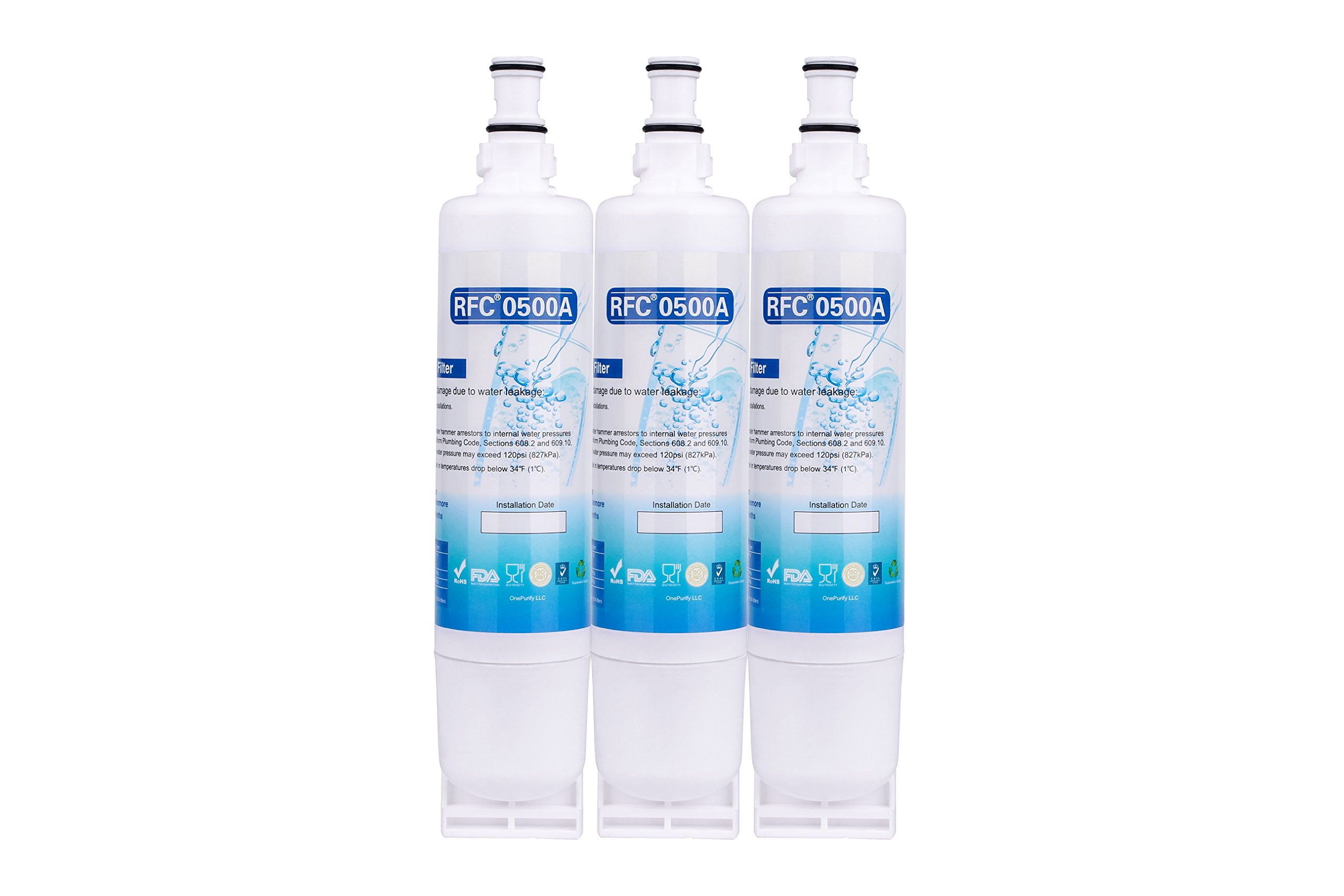 OnePurify RFC0500A3PK 4396508 Filter 5 Compatible Refrigerator Water Filter (3 Pack)