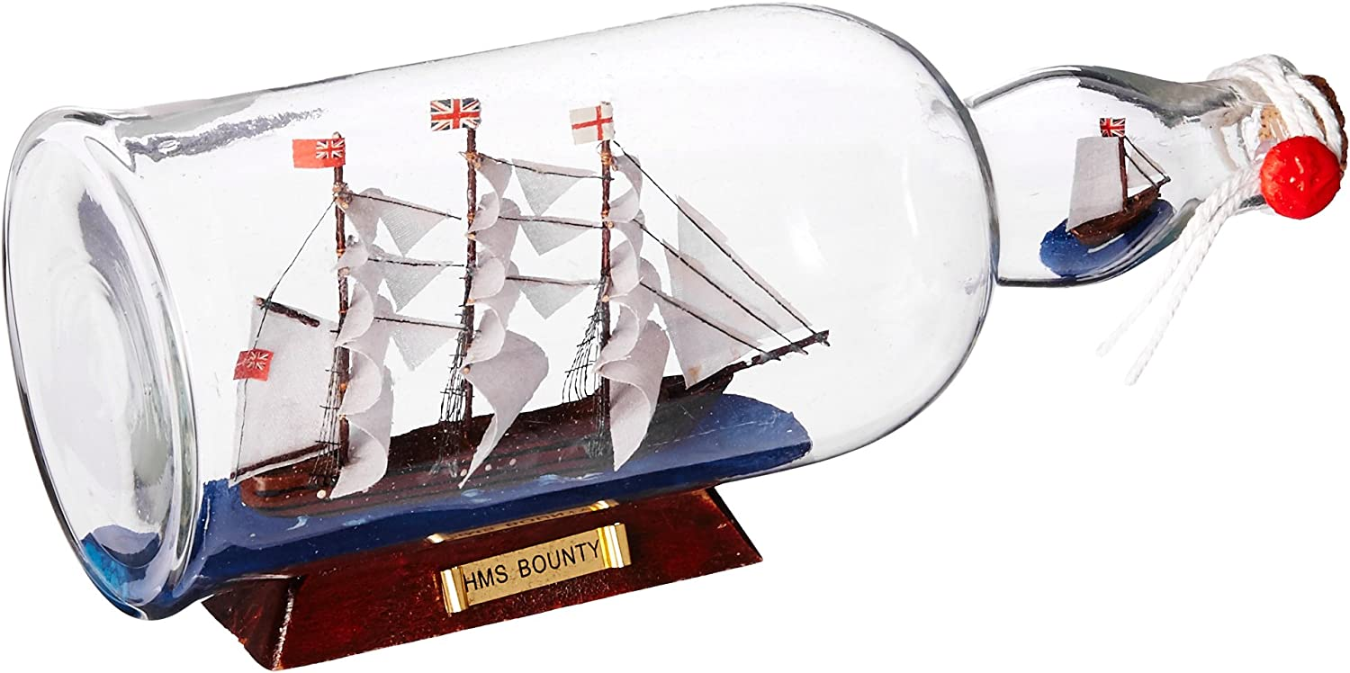 Detailed model of the Bounty in a Glass Bottle
