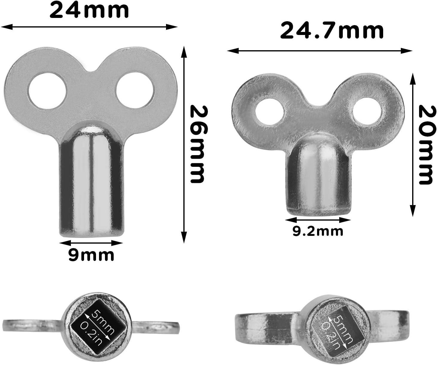 LUTER 10Pcs Radiator Valve Keys Radiator Bleed Hole Key Radiator Vent Air Valve Lock Key Plumbing Valve Key for Radiators and Faucet Silver