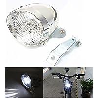 BlueSunshine Vintage Retro Bicycle Bike Front Light Lamp 3 LED Headlight with Bracket (Silver)