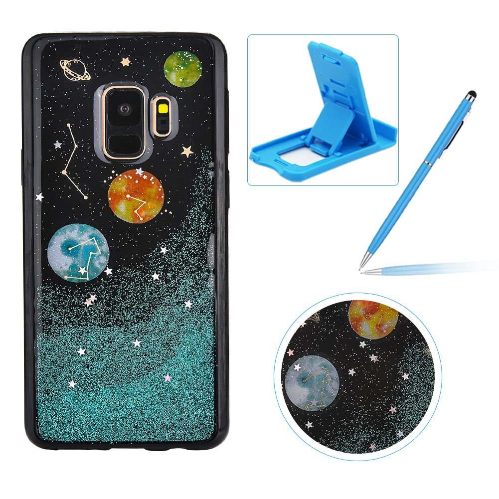 Dark Blue Glitter Case for Galaxy S9 Plus, Anti-Scratch Flexible Cover for Galaxy S9 Plus, Herzzer Unique Universe Moon Stars Pattern Soft Gel TPU Crystal Bling Shockproof Silicone Rubber Back Case