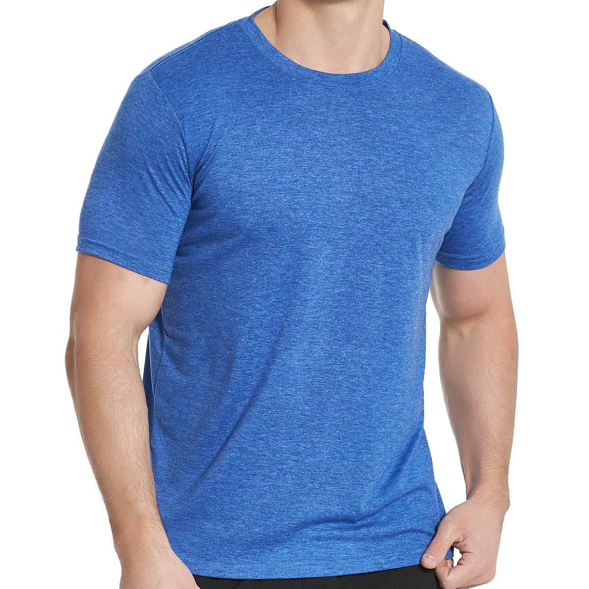 Men's Cotton Athletic T-Shirts, Short Sleeve Crew Neck Workout Tees, Blue XXL