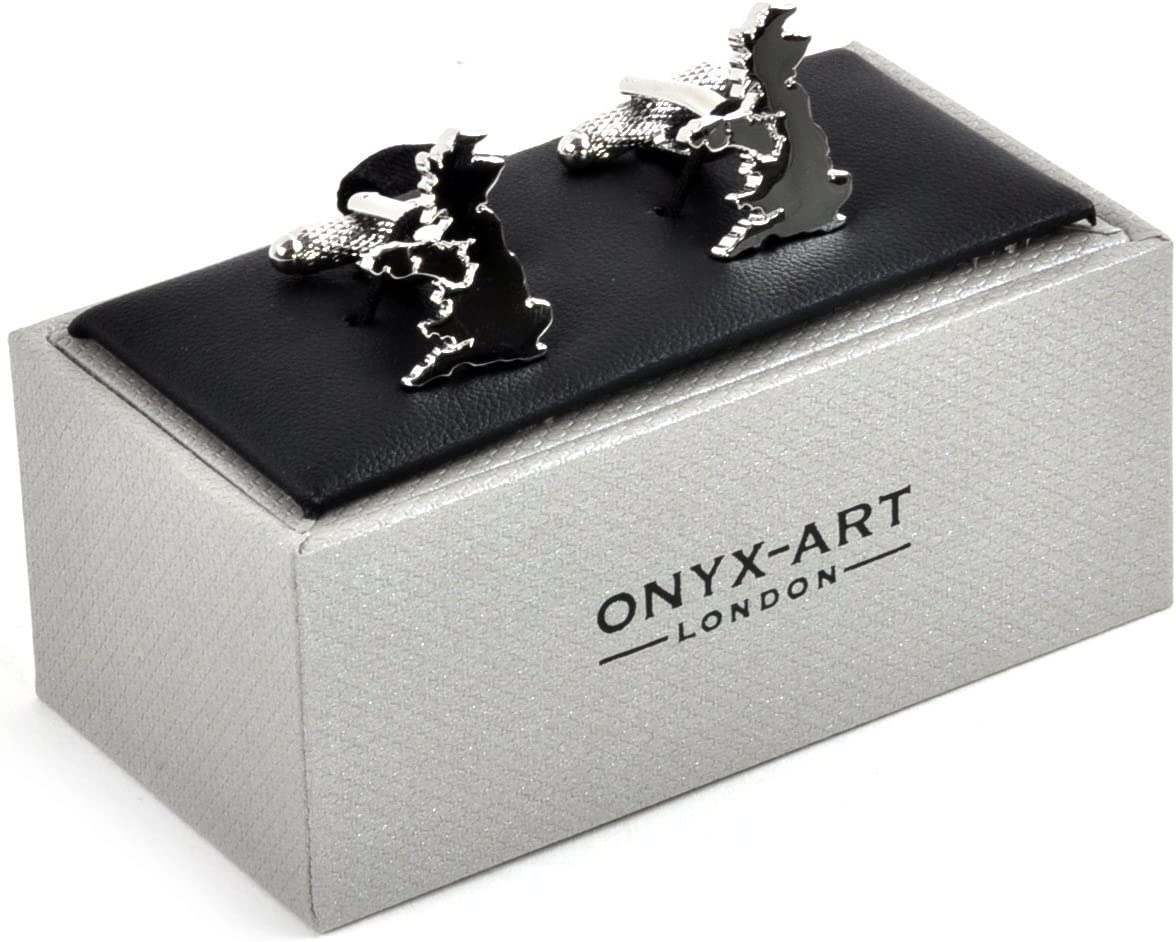 Onyx Art Cufflinks British Isles Outline