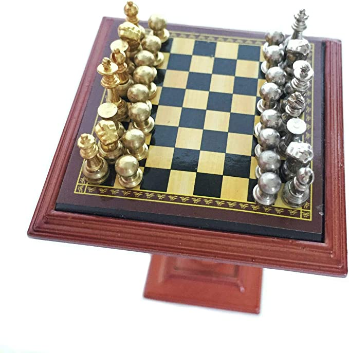 Chess Set game 1-12 scale dollhouse miniature G7247 metal pieces