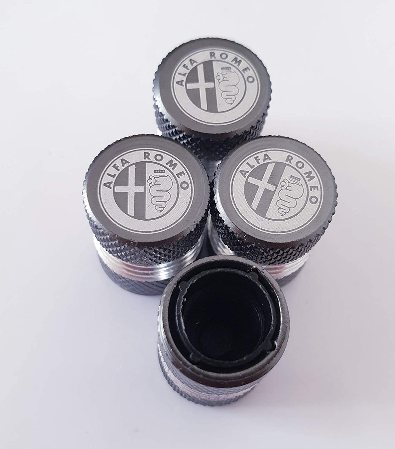 Speed Demons ALFA ROMEO Grey Laser Engraved Valve Dust Caps for all models Cars with Plastic Insides Non Stick to Valves