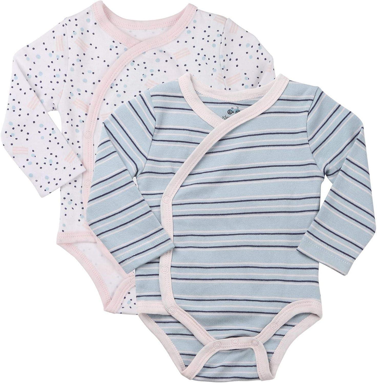 Side Snap Onesie Infant Bundle. Baby Girls 3-Pack Long-Sleeve Kimono Bodysuit Set