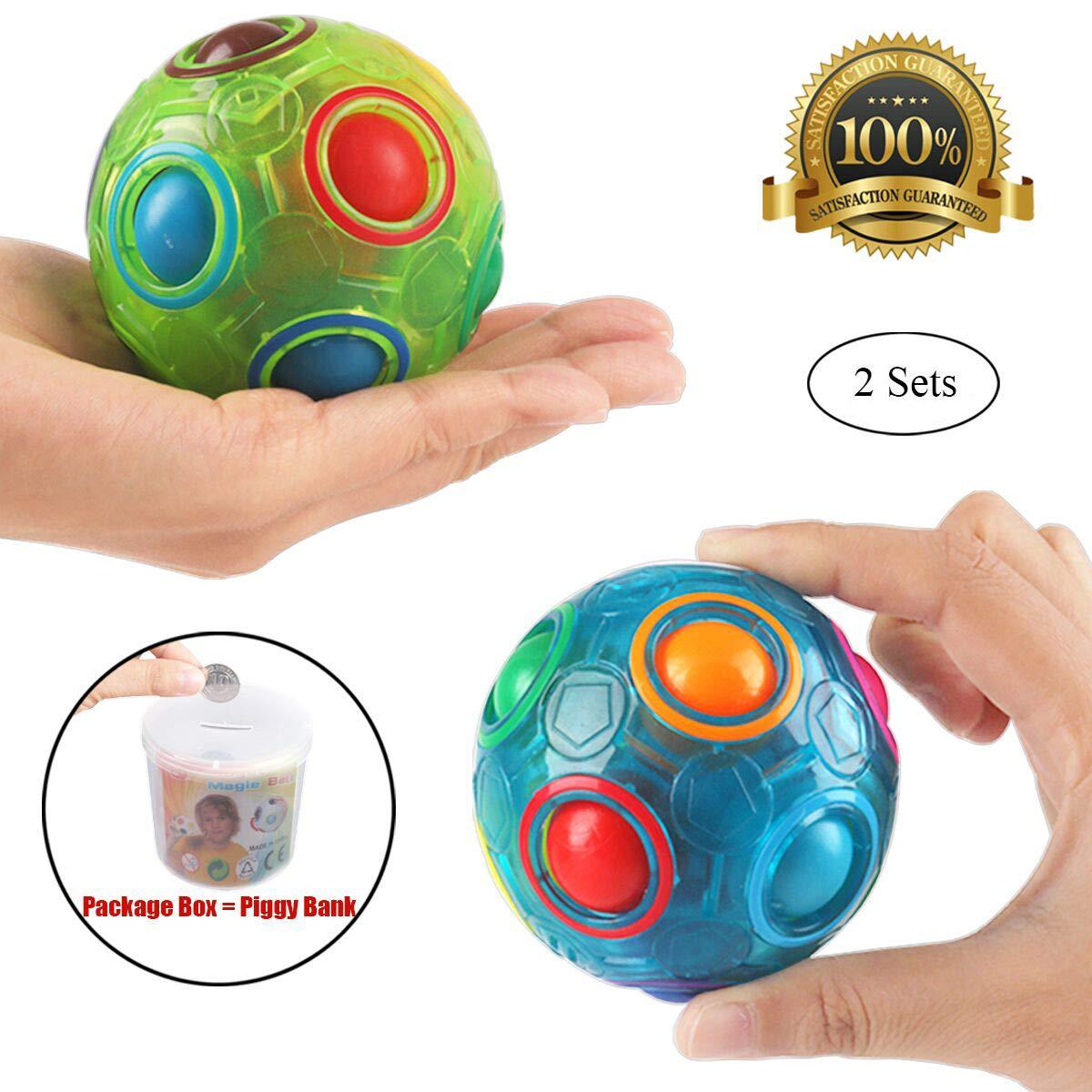2PCS Regenbogen Ball Magic Ball Spielzeug Puzzle Magic Rainbow Ball für Kinder Pädagogisches Spielzeug Jugendliche Erwachsene Stress Reliever Malloom Pop Luminous Stressabbau (Blau und Weiß)