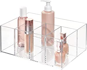 منظم مستحضرات التجميل انترديزين لحمل المكياج ومستحضرات التجميل واكسسوارات الشعر لطاولة الزينة ومراة المكياج والحمام- من 5 حجرات تخزين، شفافة، 5 اقسام، من اي ديزاين