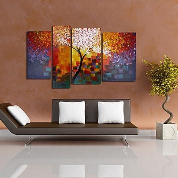 Raybre Art® 4pcs/set 100% Handgemalt Gemälde Auf Leinwand   Ölgemälde  Moderne Abstrakte