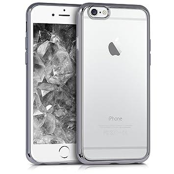 kwmobile Funda para Apple iPhone 6 / 6S - Carcasa [Trasera] de [TPU] con diseño Marcos galvanizados en [Antracita/Transparente]