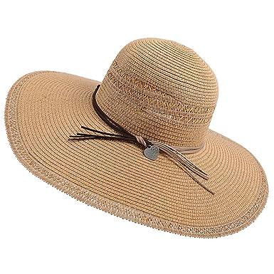 Hexcbay Femme Chapeau de Soleil Beach Chapeaux Grand Bowknot Bord Large Paille Chapeau de Chapeau de Paille Pliable Tresse Bord Plage Voyage Chapeau de p/êcheur Protection UV Chapeau