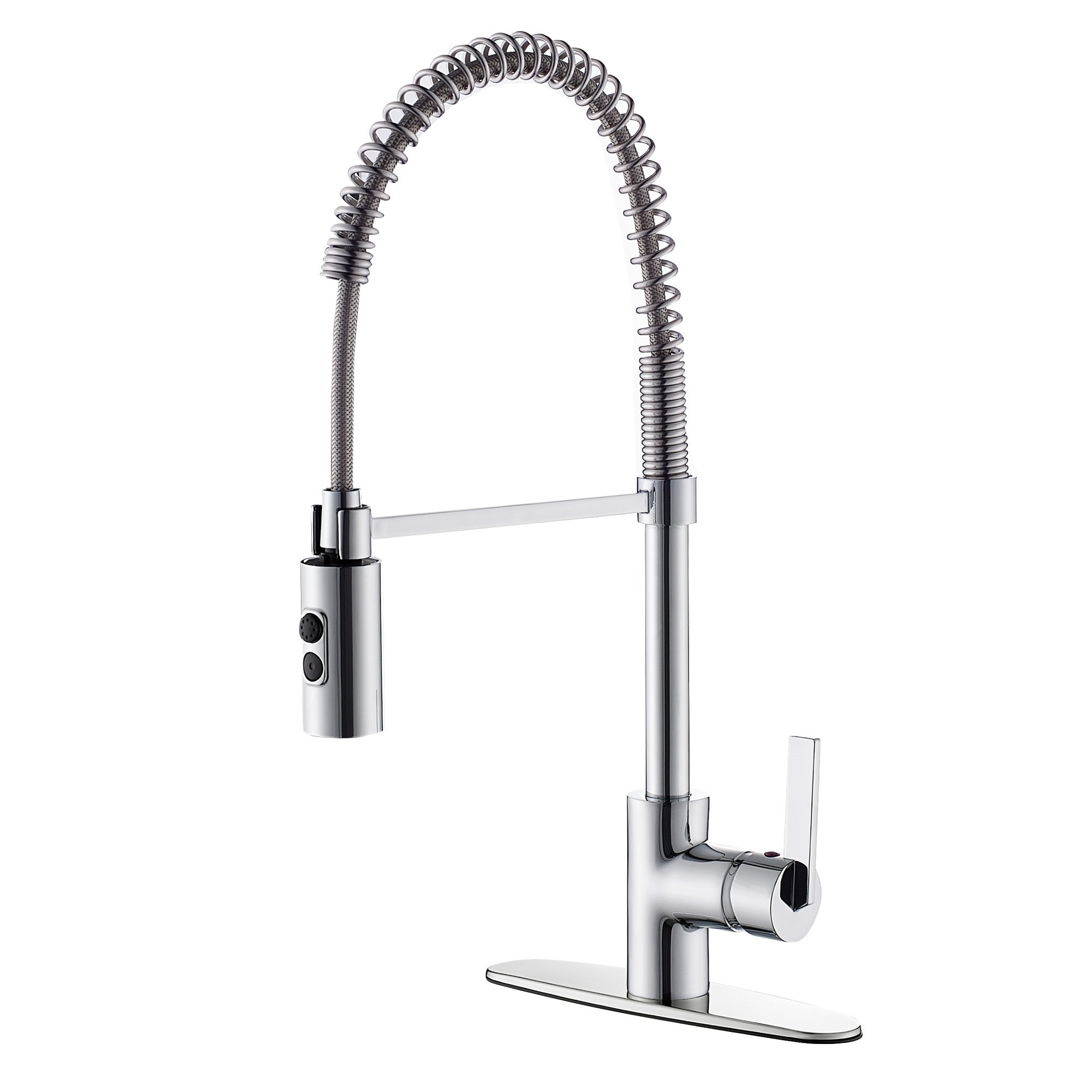 TimeArrow TAF852R-CP01 Modern Commercial Chrome Pull Down Sprayer Kitchen Faucet, Single Handle Kitchen Sink Faucet With Deck Plate