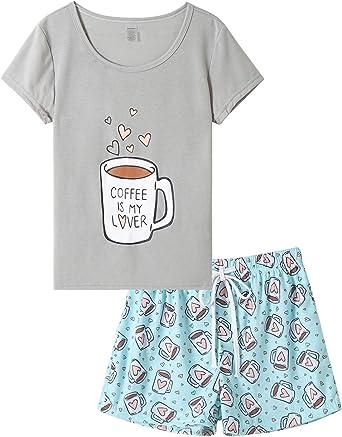VENTELAN Pijama para Mujer, Lindo diseño de Dibujos Animados, Playera de Dormir, Pantalones Cortos, Conjunto de Pijamas de Verano