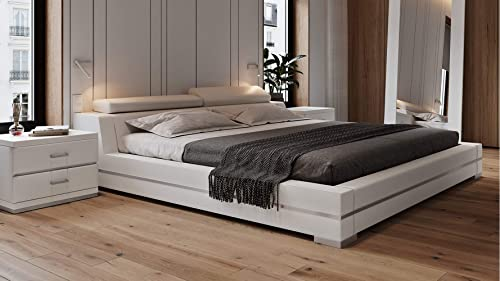 Hera Genuine White Leather Platform Bed