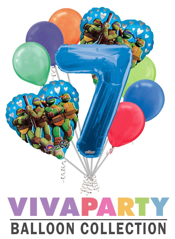 Amazon.com: Ninja Turtles Heart Balloon Bouquet 9 pc, 7th ...
