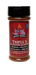 Smoke n Sanity Triple S All Purpose Seasoning - Certified Low FODMAP - Contains No Garlic, No Onion - Gluten Free and Dairy Free (4.5 oz Shaker)
