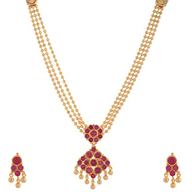 Buy 1 gram gold plated south indian traditional necklace set with 1 gram gold plated south indian traditional necklace set with ruby stones aloadofball Image collections
