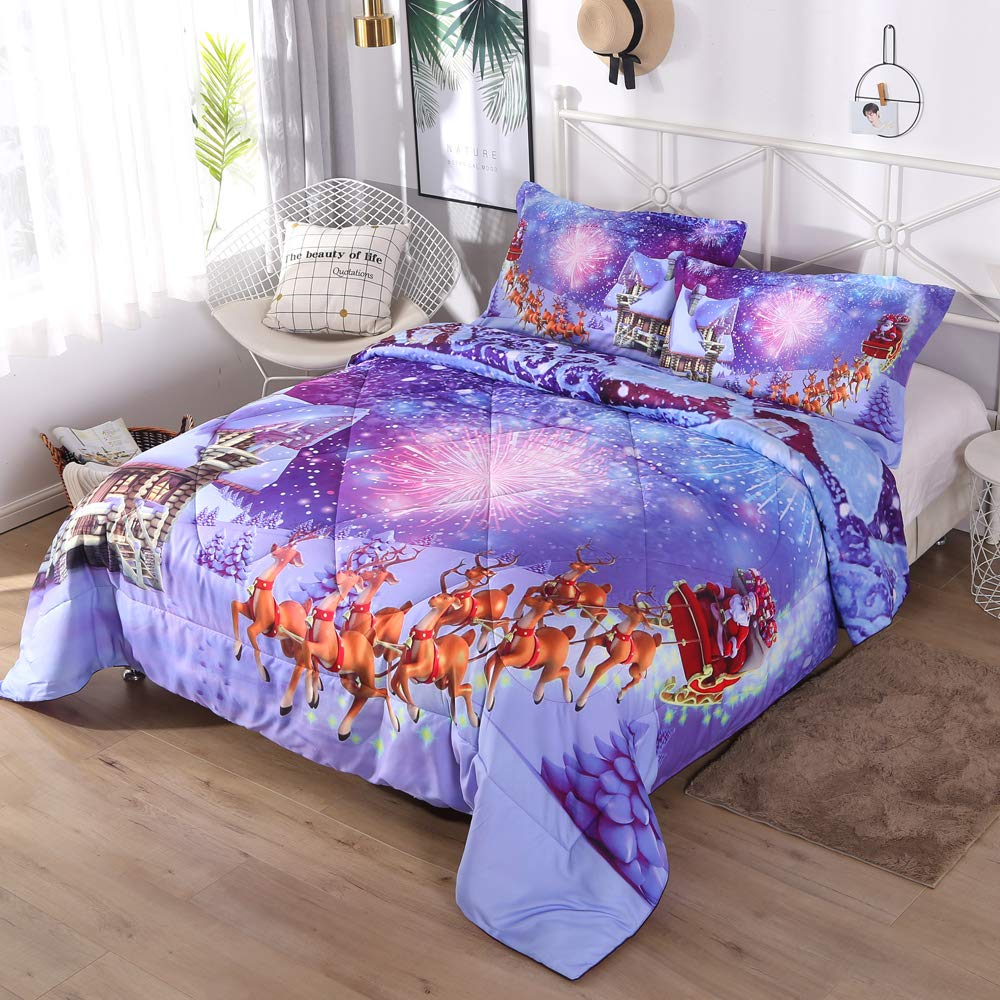 ENJOHOS Merry Christmas Bedding Set 3D Santa Claus in Sleigh with Reindeer Toys and New Year Fireworks in Snowy Winter Decorative 3 Piece Purple Blue Comforter Set for Kids and Children, Full Size