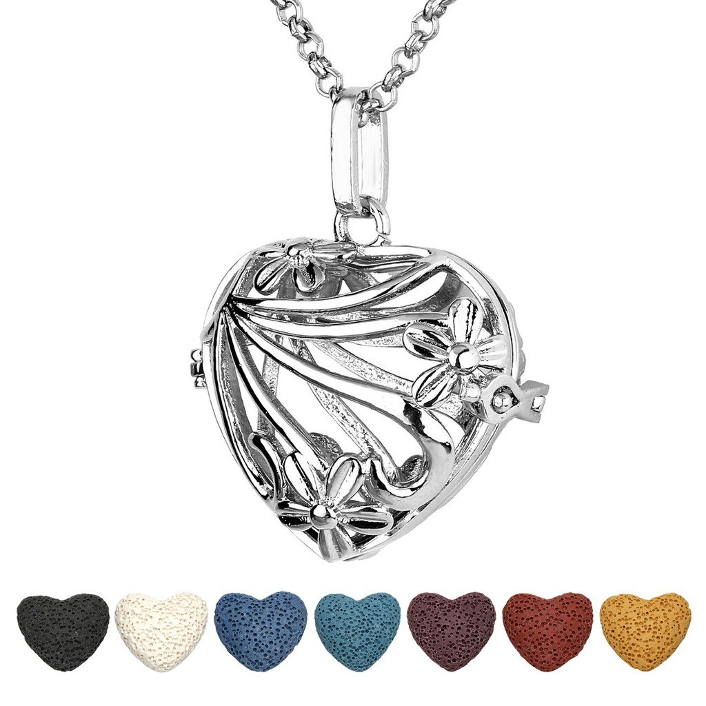 Top Plaza Aromatherapy Essential Oil Diffuser Necklace Antique Silver Heart Shape Locket Pendant With 7 Dyed Lava Rock(Flower)