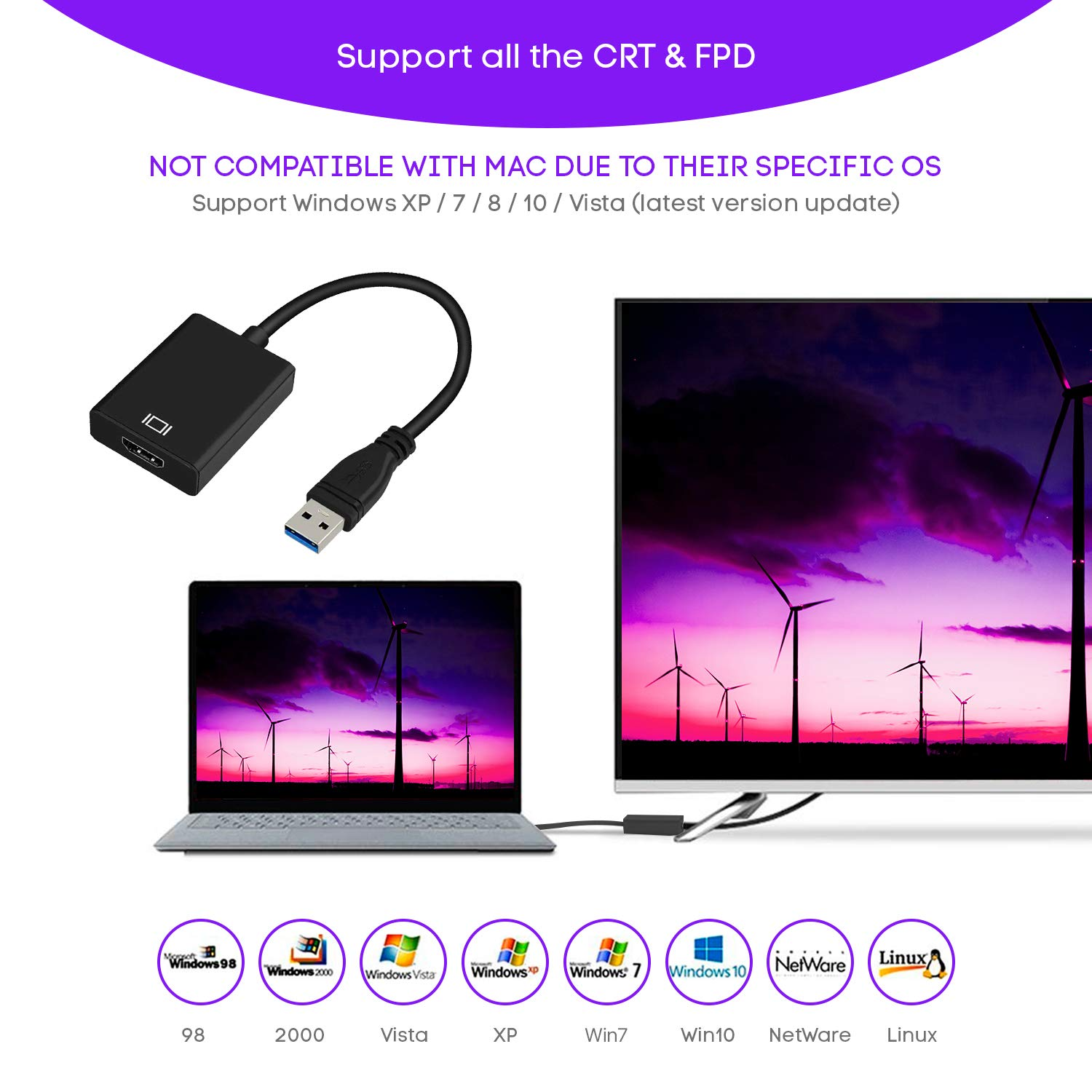 USB 3.0 to HDMI for Multiple Monitors 1080P HD Audio Video Cable Converter Not Support Mac, Linux, Vista, Chrome, Firestick USB to HDMI Adapter Compatible with Windows XP//10//8.1//8//7