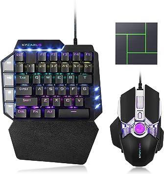 HYCARUS - Teclado mecánico para juegos con retroiluminación LED RGB y teclado de ratón para Nintendo Switch, PS4, Xbox One, PS3