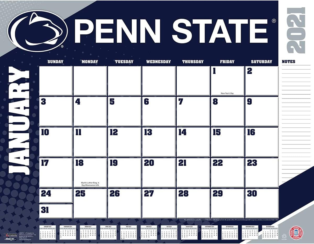 Fall 2021 Psu Calendar Amazon.: TURNER Sports Penn State Nittany Lions 2021 22X17
