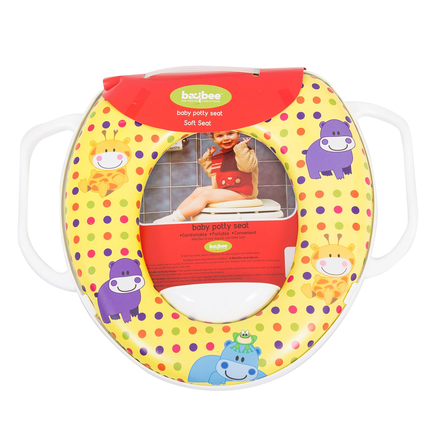 Baybee Portable Potty Training Seat | Toddler Toilet Training Soft Potty Seat Ring | Fits Round and Oval Toilets for Boys and Girls - Yellow