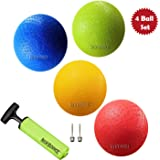 New Bounce Playground Ball Set - 7 Inch Dodge-Ball Balls - Set of 4 PG7 Balls, 1 Pump, and 2 pins, Smaller Size Dodgeball and Handball - Perfect for Camps and Schools