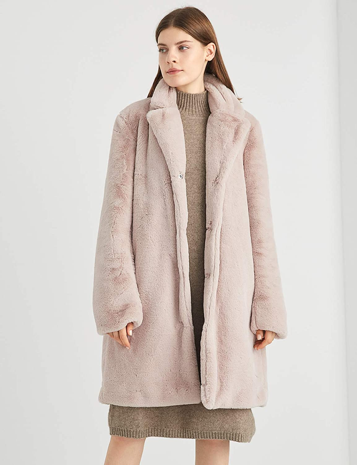 Escalier Womens Long Winter Faux Fur Coat Warm Thick Cape Fluffy Trench Overcoat with Pockets