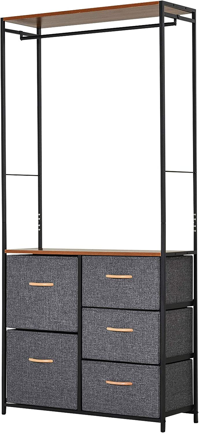 HOMCOM Industrial Storage Cabinet Coat Rack Bedroom Hall Tree Organiser with Long Coat Hanger, 5 Drawers & Storage Shelf