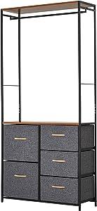 HOMCOM Industrial Storage Cabinet Coat Rack Bedroom Hall Tree Organiser with Long Coat Hanger, 5 Drawers & Storage Shelf