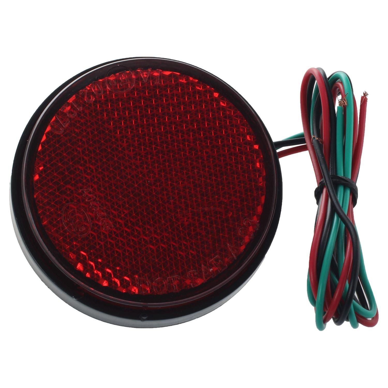 TOOGOO(R) 1x LED Round Reflectors Rear Tail Brake Stop Marker Light Truck Trailer Car 12V, Red 114361A2