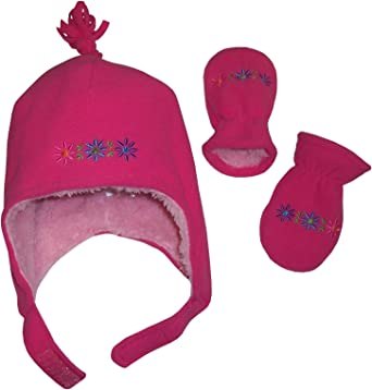NIce Caps Girls Sherpa Lined Flowers Embroidered Micro Fleece Set